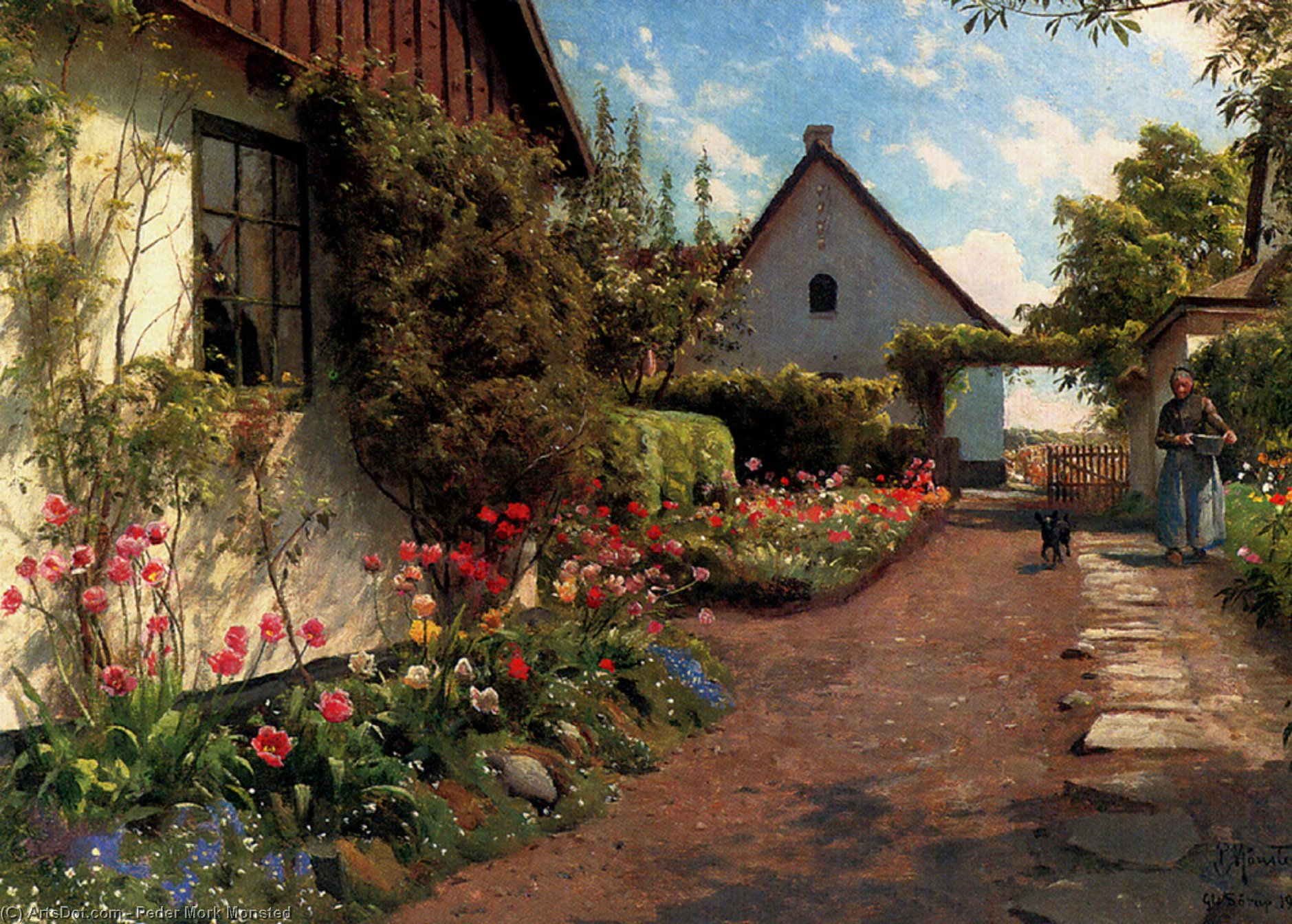 в сад, Масло по Peder Mork Monsted (1859-1941, Denmark)