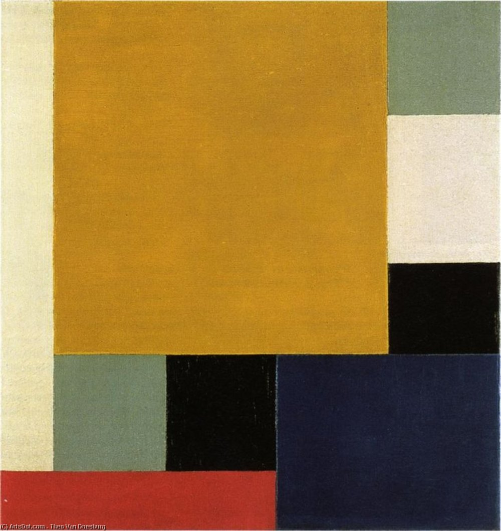 состав xxii, холст, масло по Theo Van Doesburg (1883-1931, Netherlands)