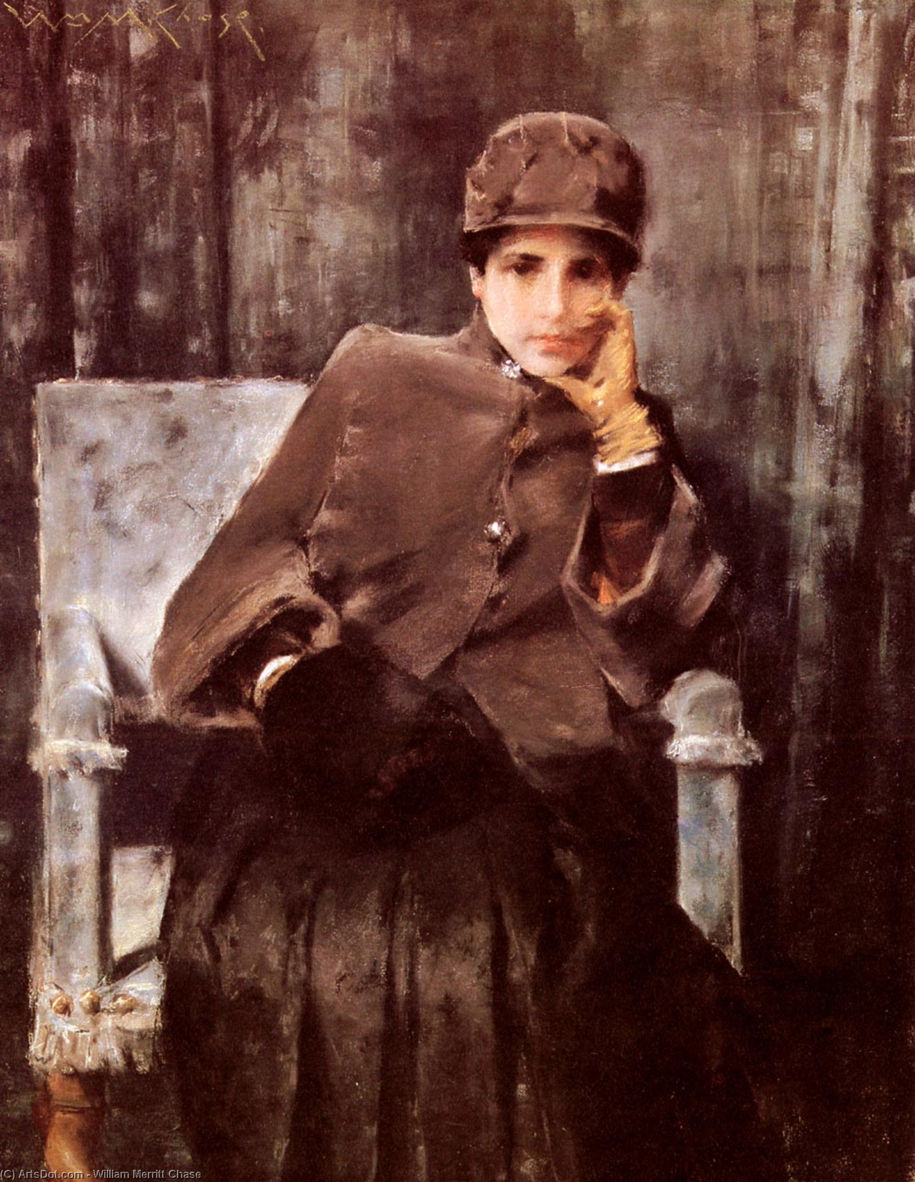 Медитация, холст, масло по William Merritt Chase (1849-1916, United States)