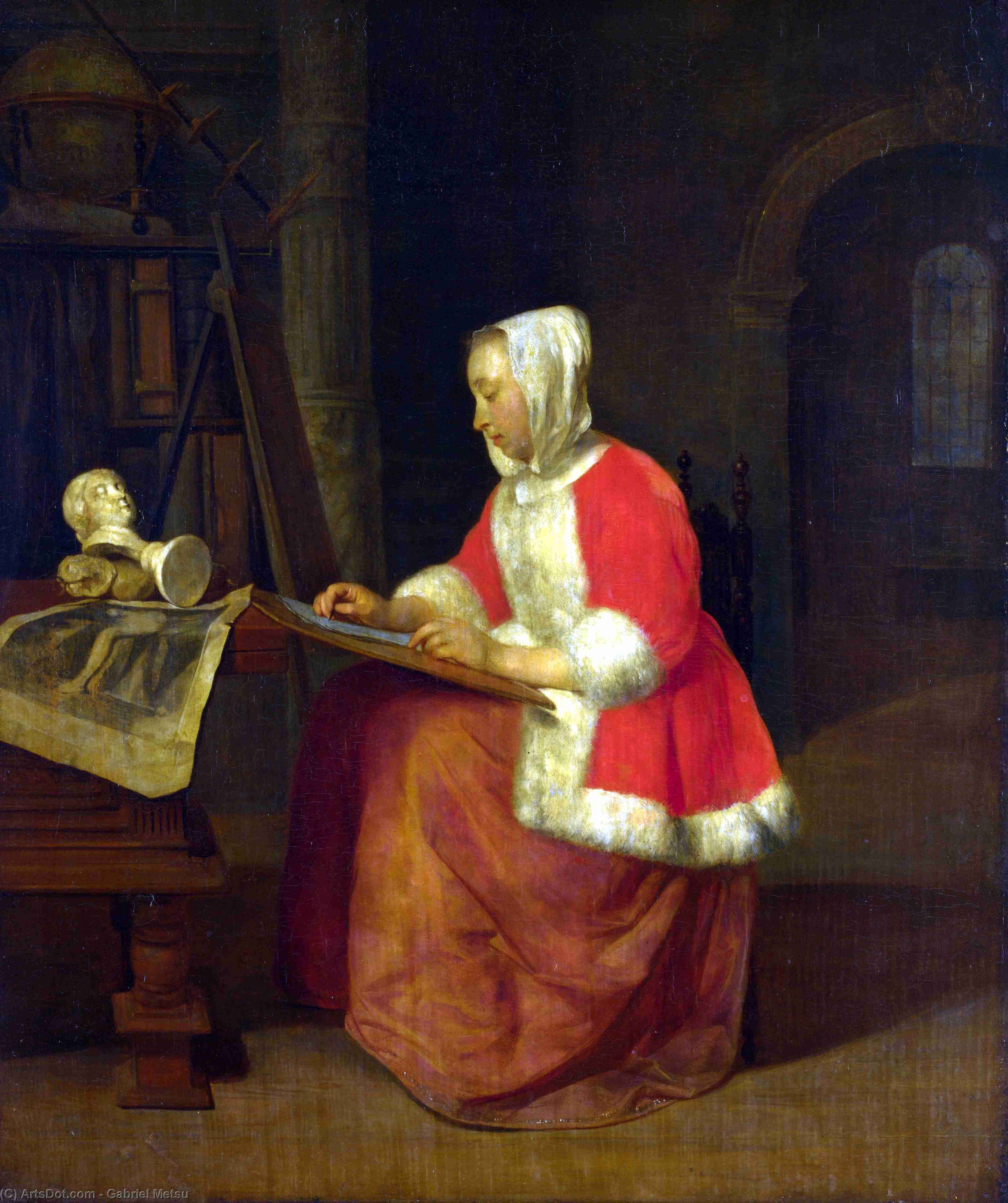 a report on the painting a girl receiving a letter by gabriel metsu in the timken museum of art The art of painting kunsthistorisches museum dutch painting: gabriel metsu  in vermeer's painting clio is portrayed as a girl with a crown of laurel.