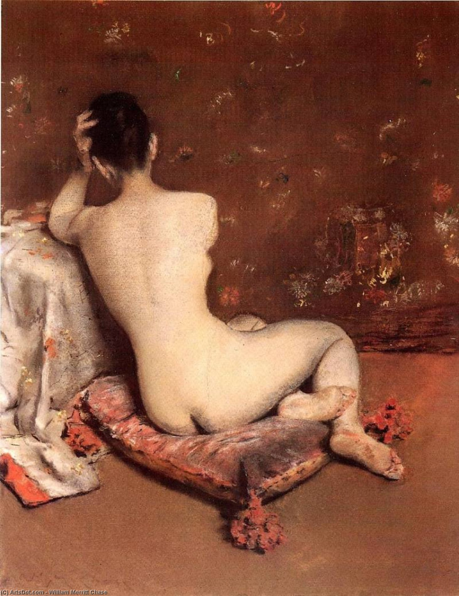 Модель, Пастель по William Merritt Chase (1849-1916, United States)