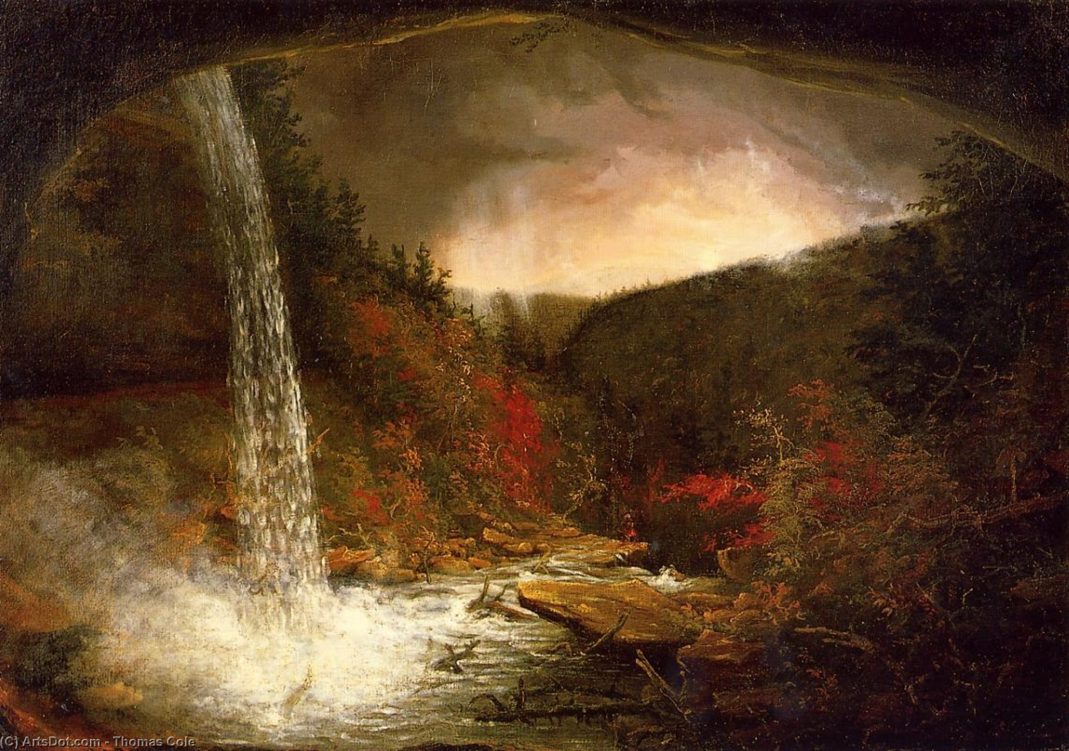 Kaaterskill водопад, холст, масло по Thomas Cole (1801-1848, United Kingdom)