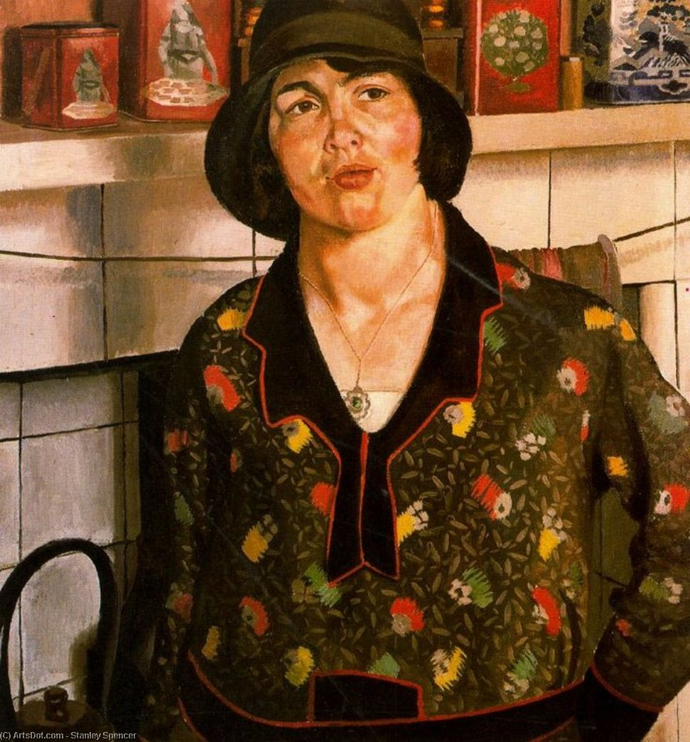 Деревенская девушка . Elise по Stanley Spencer (1891-1959, United Kingdom)