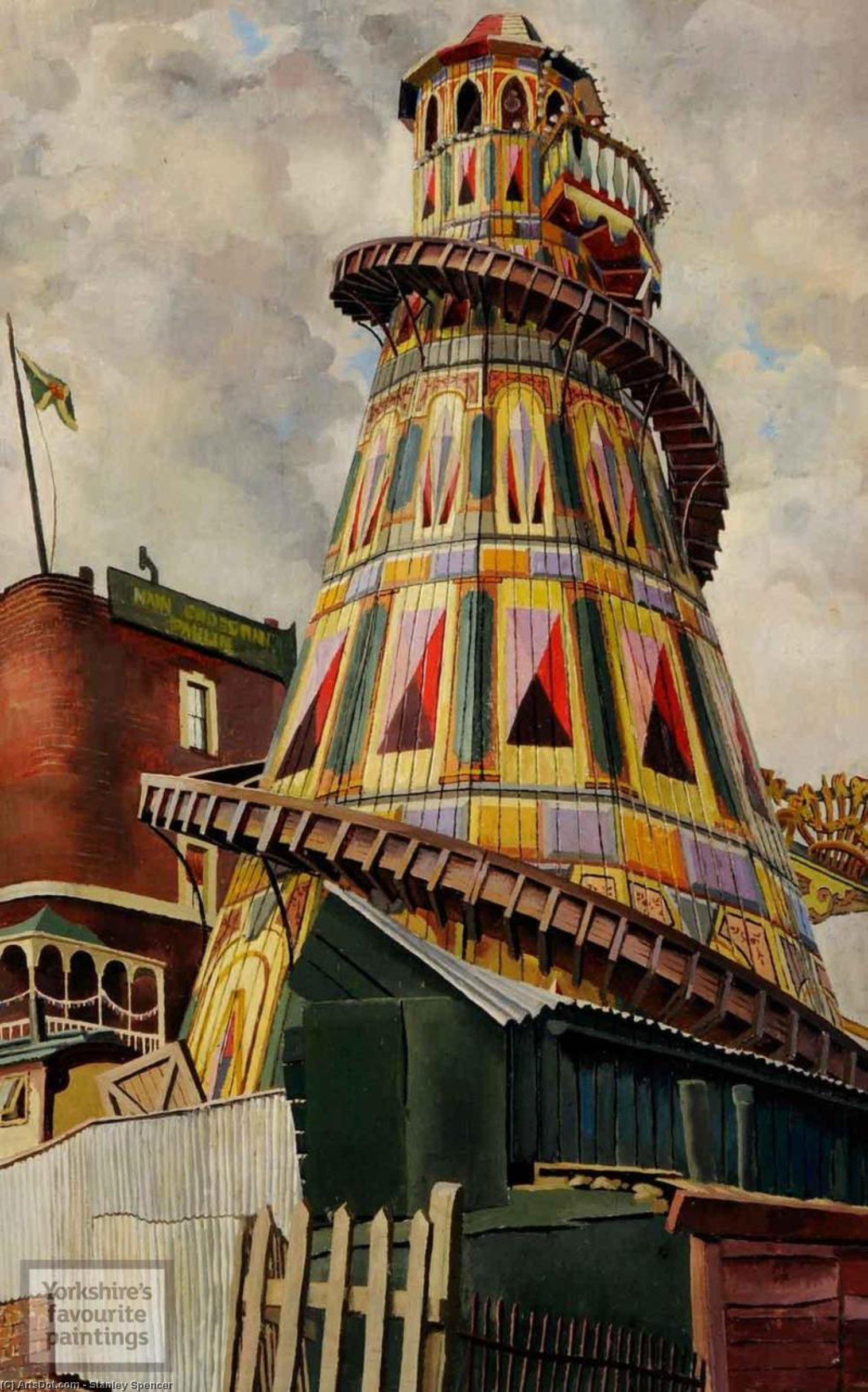 helter skelter . хэмпстед-хит по Stanley Spencer (1891-1959, United Kingdom)