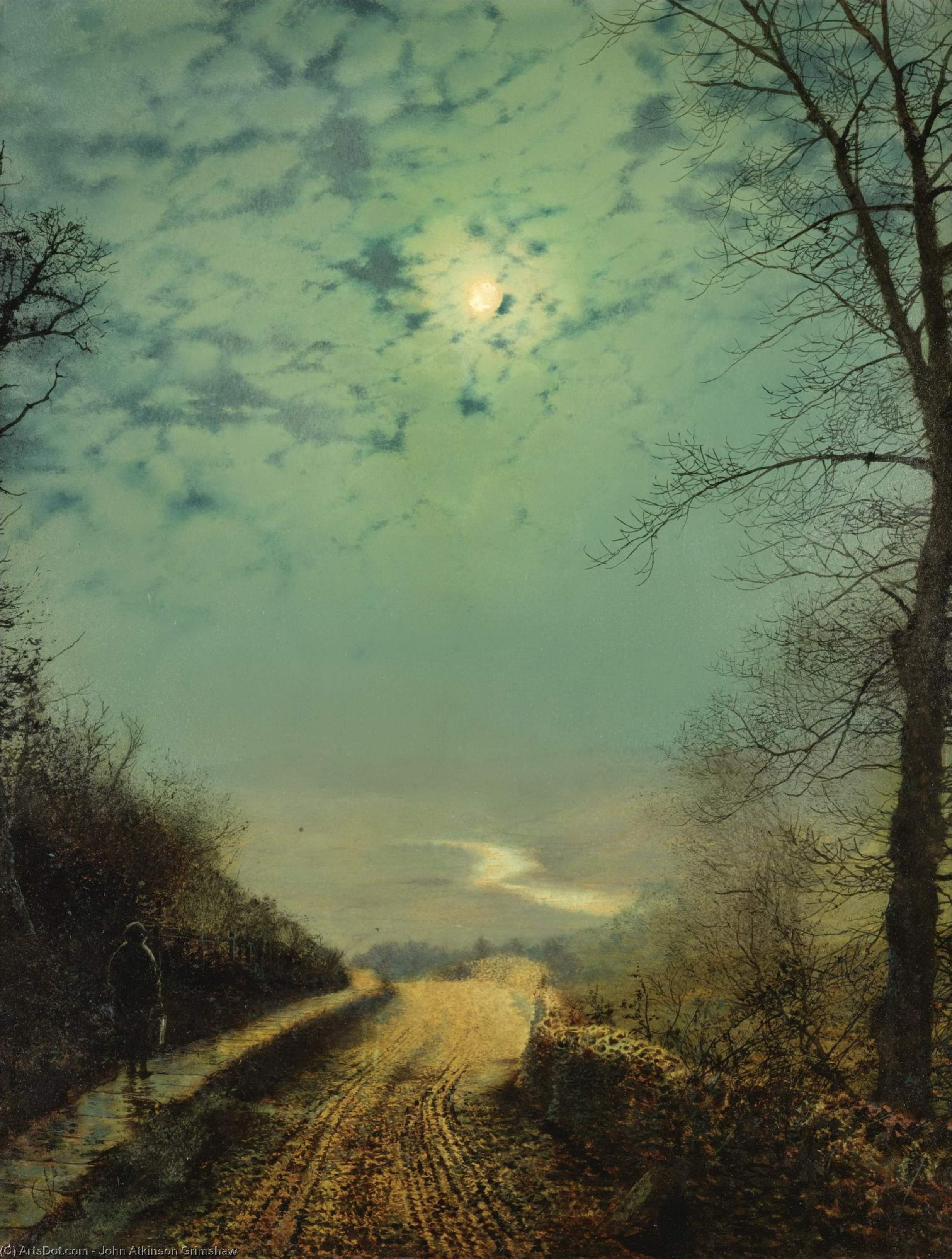 мокрая дорога в лунном свете , Wharfedale по John Atkinson Grimshaw (1836-1893, United Kingdom) | Репродукции Музея | ArtsDot.com