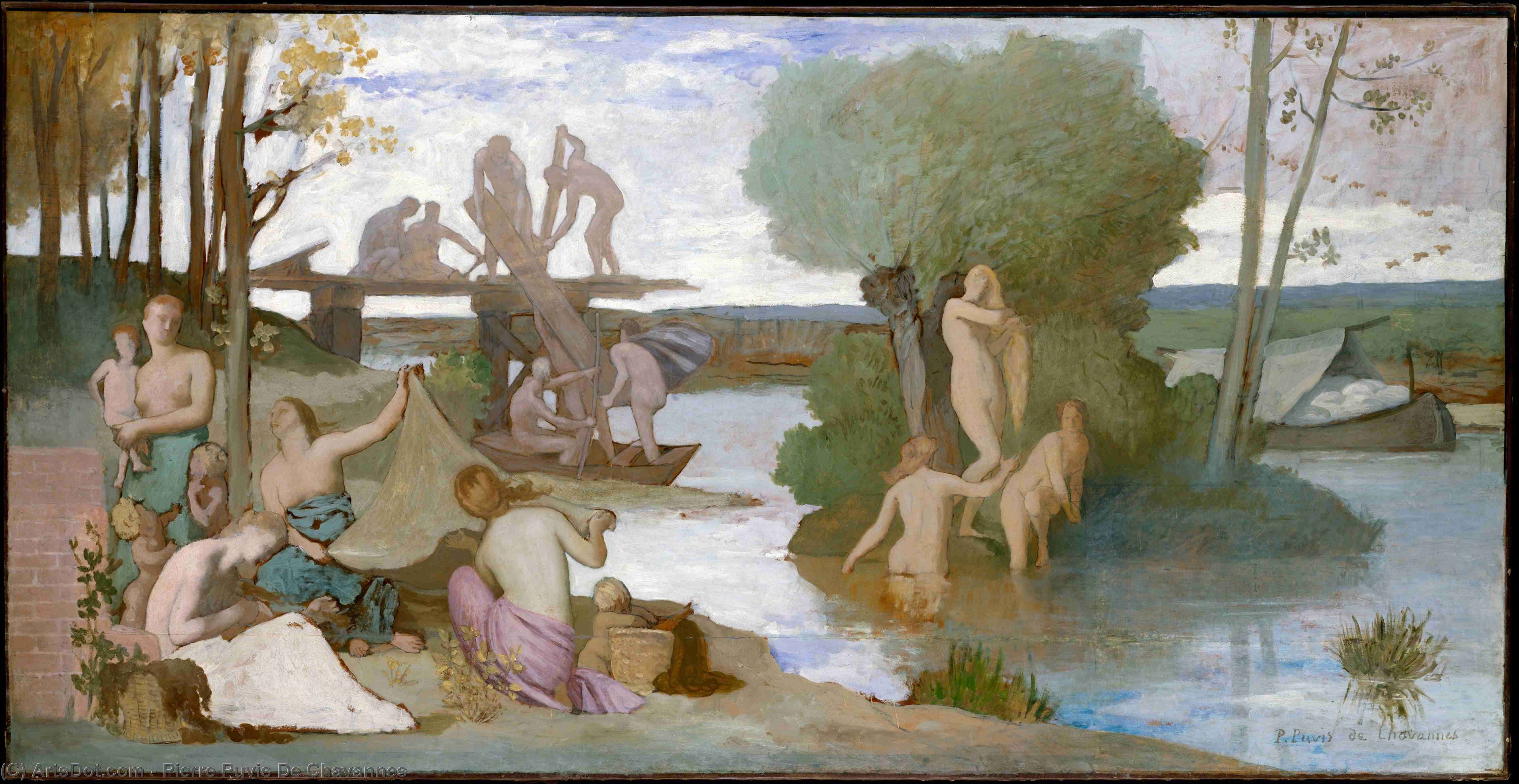 Река, 1865 по Pierre Puvis De Chavannes (1824-1898, France)