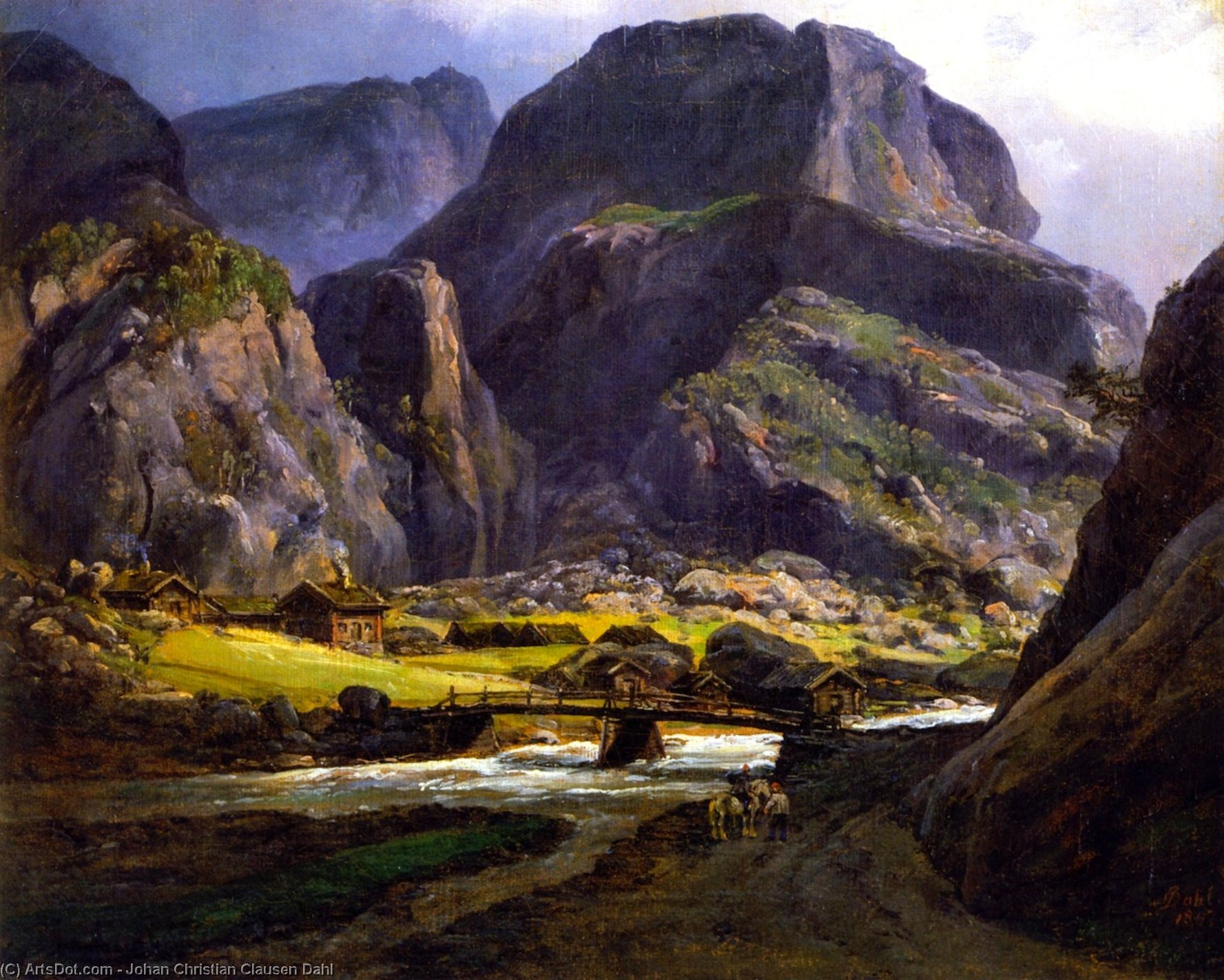 Вид Naerodalen, Масло на панели по Johan Christian Clausen Dahl (1788-1857, Norway)