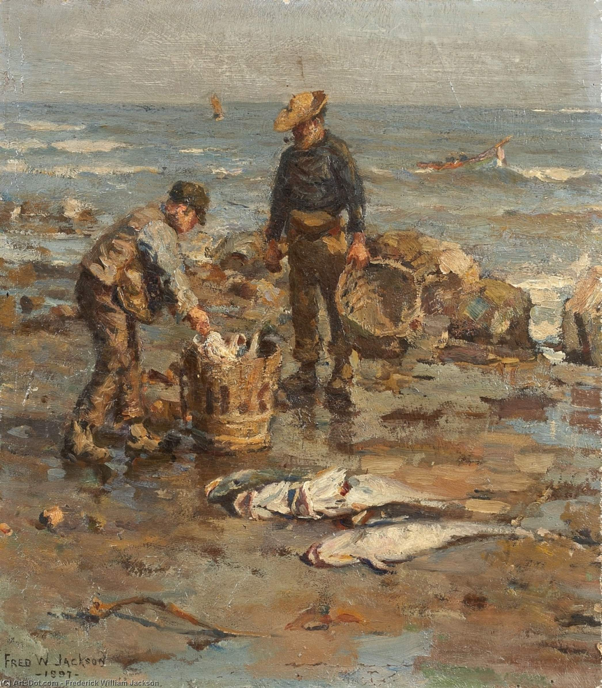 Strandszene Мит zwei fischern по Frederick William Jackson (1843-1942, United States)