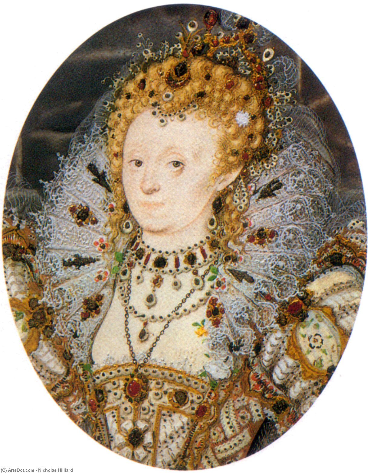 Элизабет Iv3  , Масло по Nicholas Hilliard (1577-1619, United Kingdom)