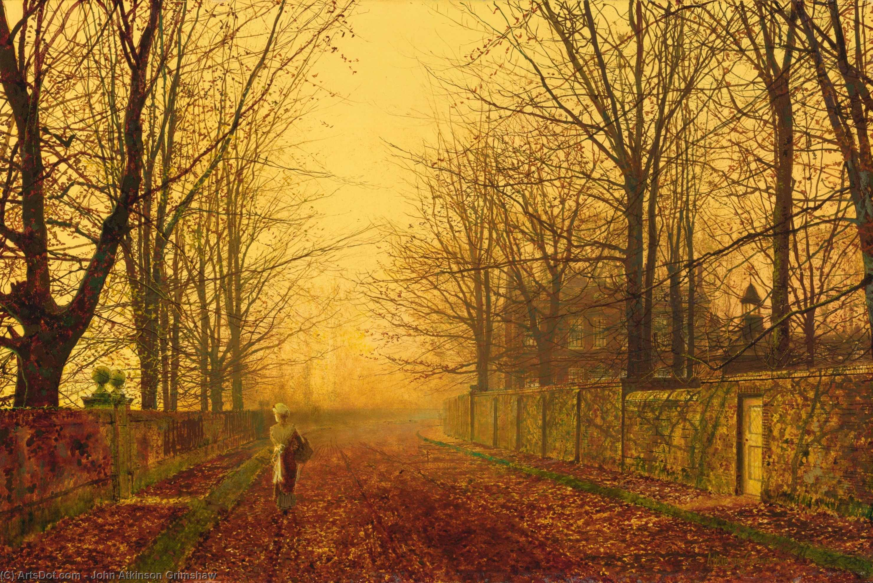 золотой Свет , 1893 по John Atkinson Grimshaw (1836-1893, United Kingdom)