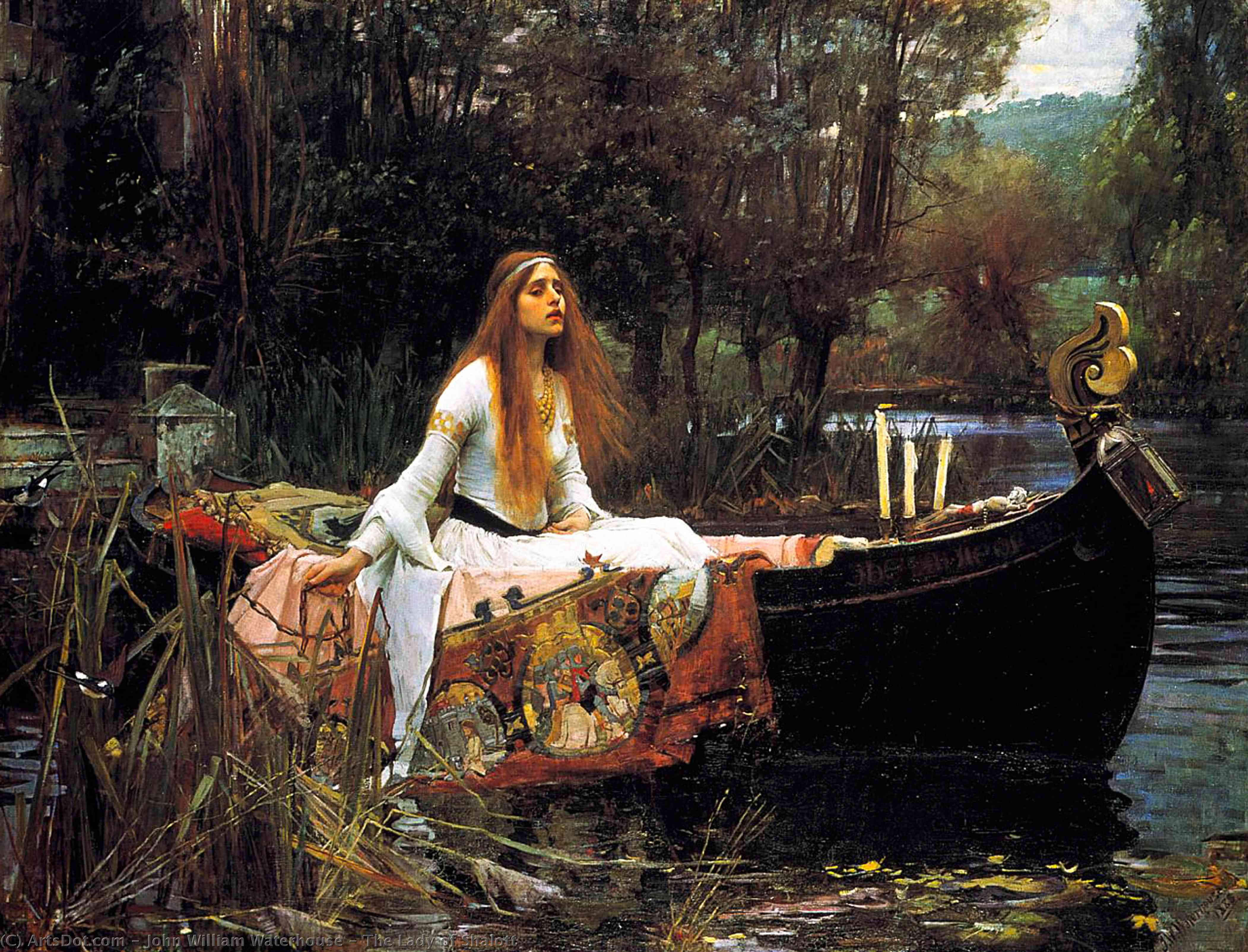 леди шалотт, 1888 по John William Waterhouse (1849-1917, Italy) | Репродукции Картин John William Waterhouse | ArtsDot.com