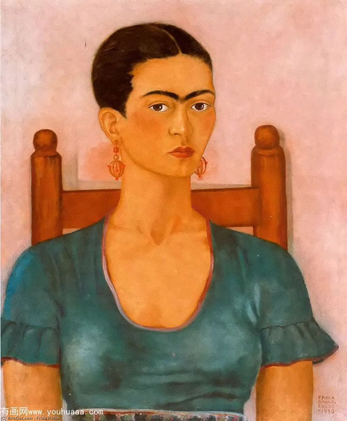 Автопортрет 3  , масло по Frida Kahlo (1907-1954, Mexico)