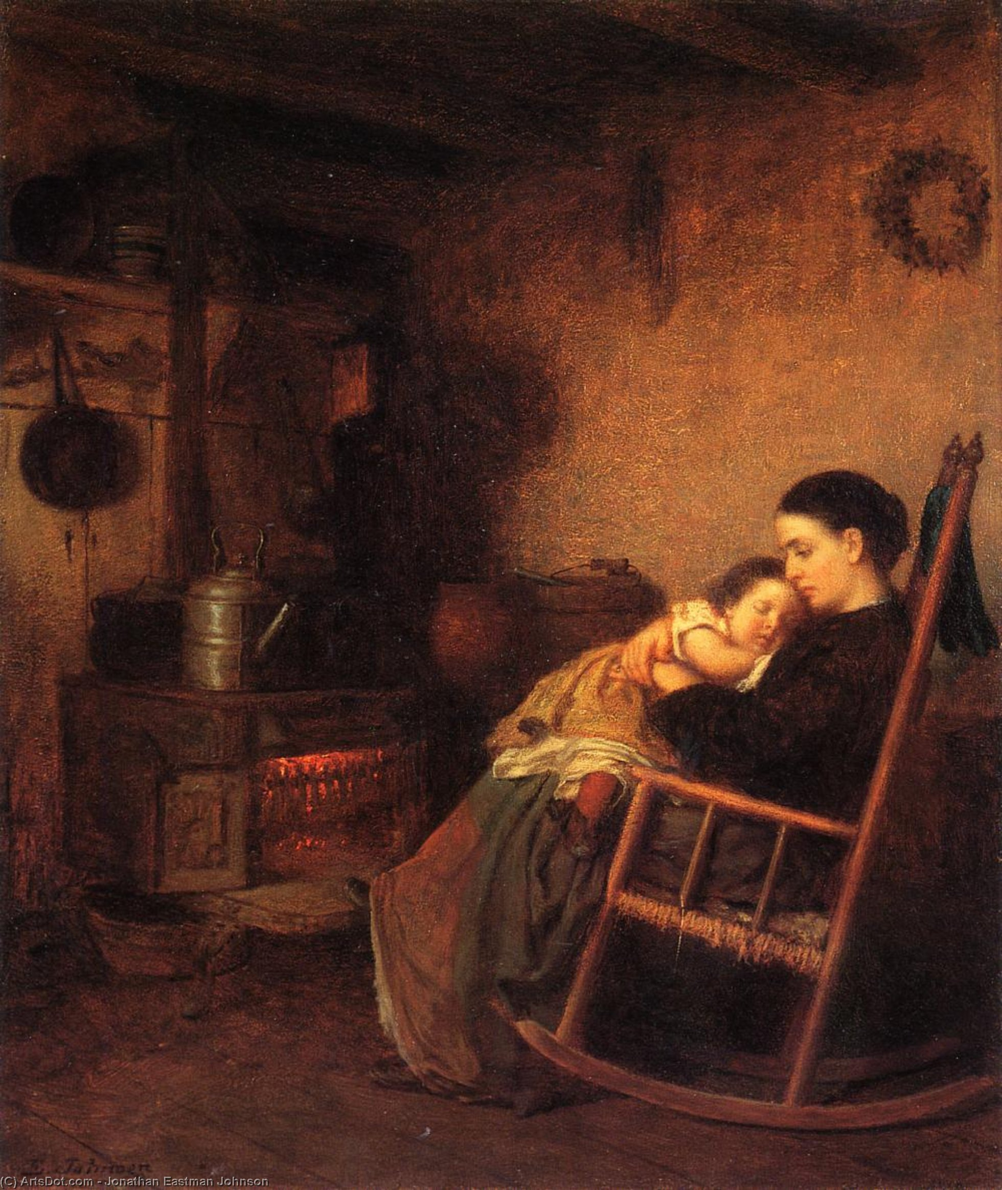 мать и ребенок по Jonathan Eastman Johnson (1824-1906, United Kingdom) | Картина Копия | ArtsDot.com