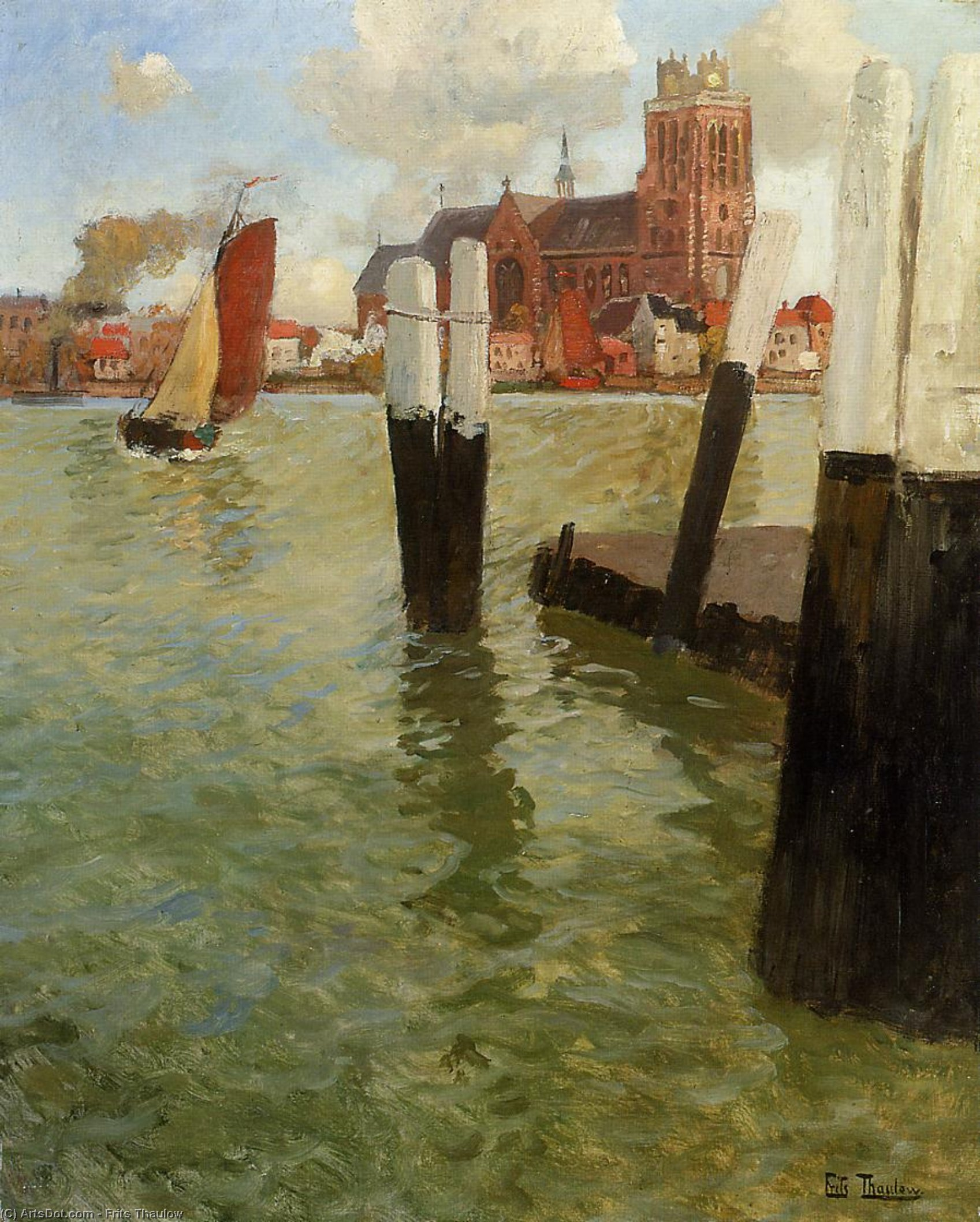 Пьер Дордрехт , холст, масло по Frits Thaulow (1847-1906, Norway)