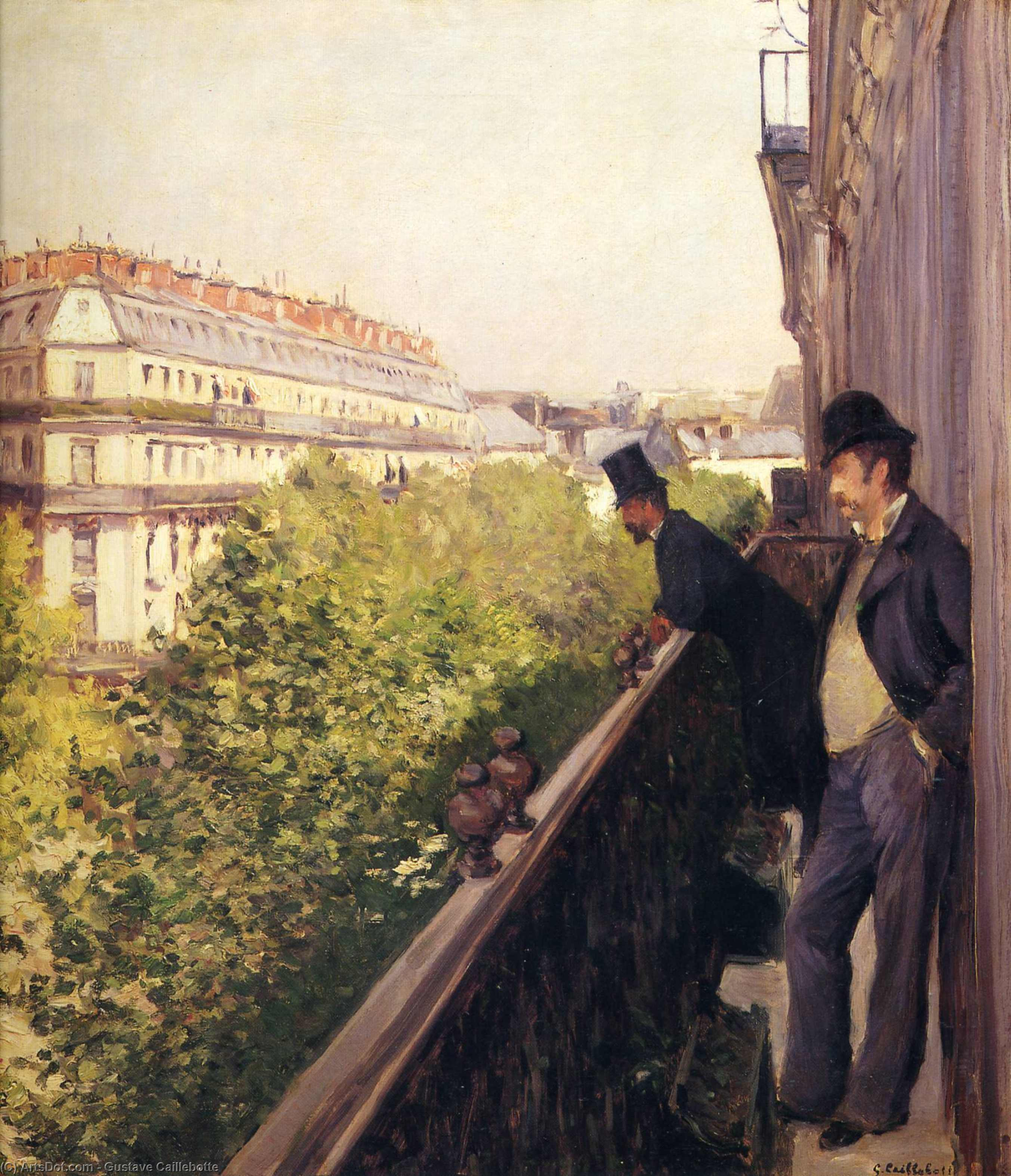 Балкон , масло по gustave caillebotte (1848-1894, france).