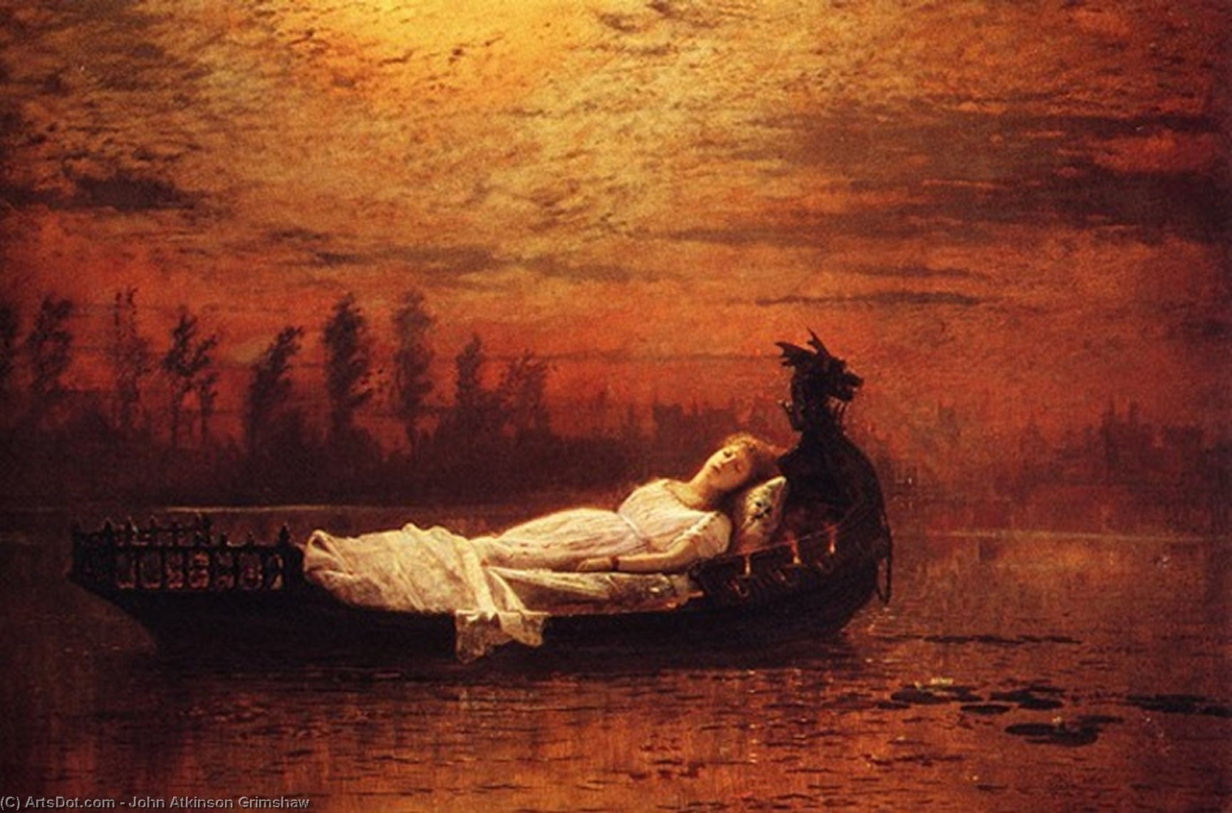 Элейн по John Atkinson Grimshaw (1836-1893, United Kingdom)