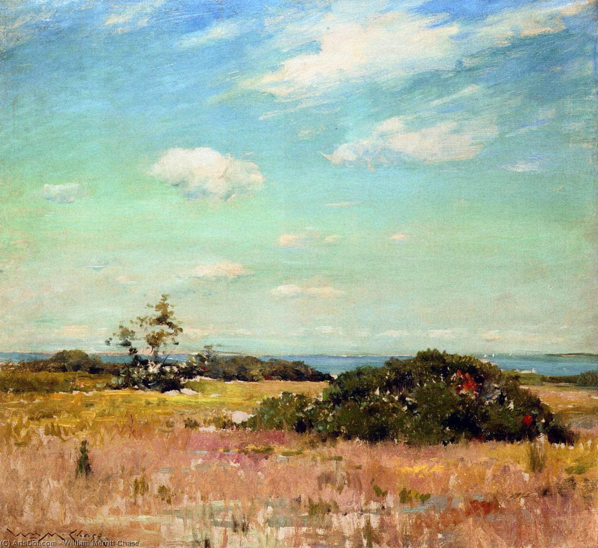 Shinnecock Хиллз Давно  Остров , масло по William Merritt Chase (1849-1916, United States)