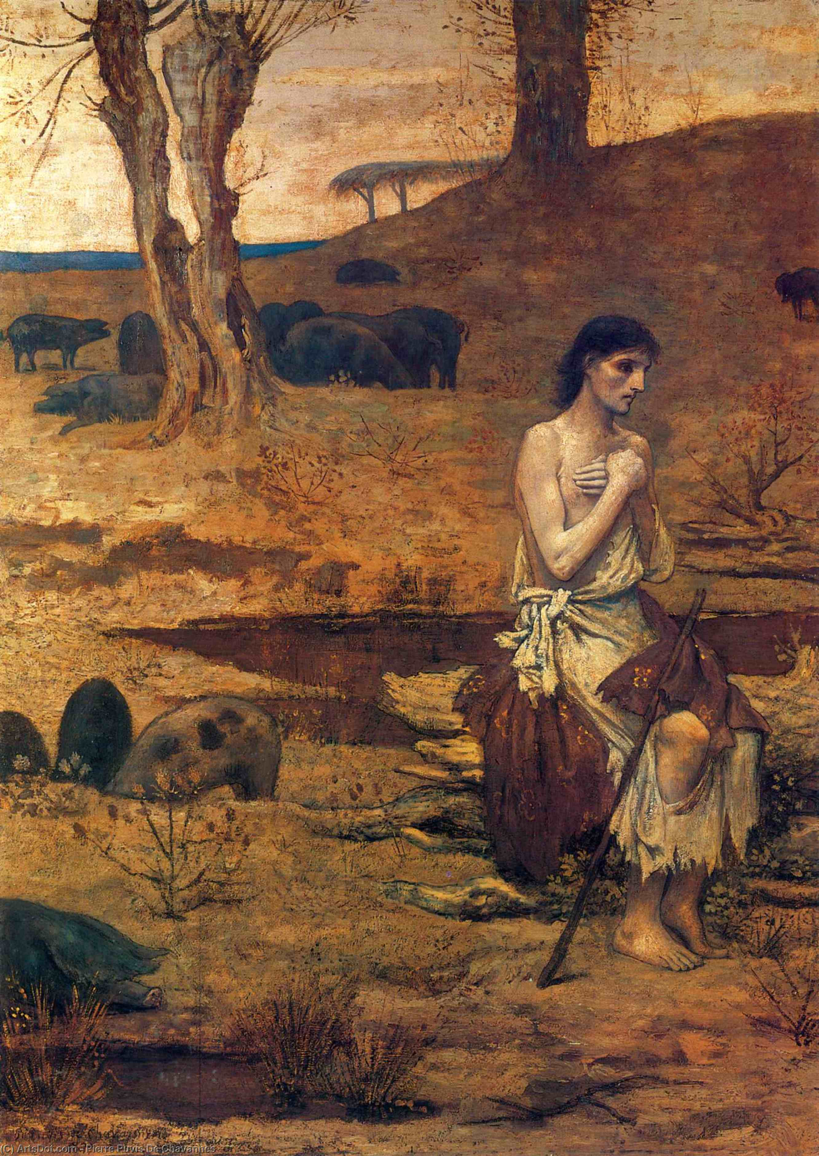 Блудный сын, холст, масло по Pierre Puvis De Chavannes (1824-1898, France)