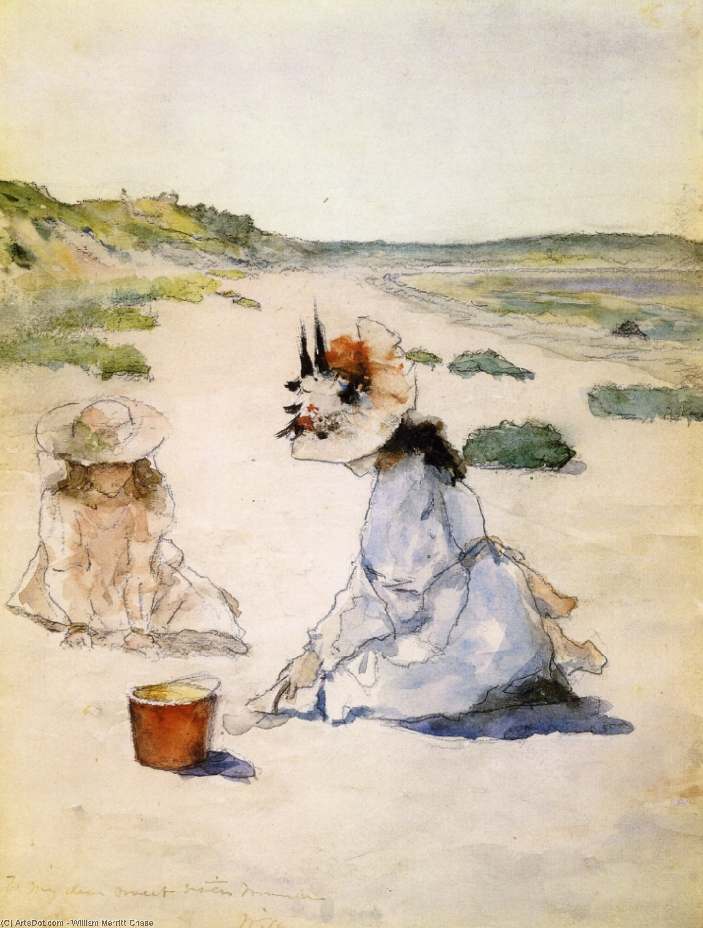 На пляже Шиннекок , акварель по William Merritt Chase (1849-1916, United States)