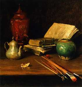 William Merritt Chase - натюрморт с Кисти и Керам..