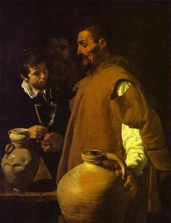 Waterseller в Севилье, масло по Diego Velazquez (1599-1660, Spain)