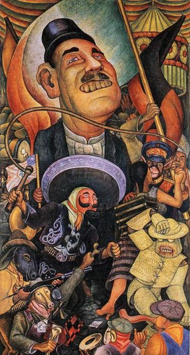 Карнавал мексиканской жизни. Диктатура, 1936 по Diego Rivera (1886-1957, Mexico)