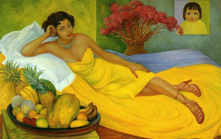 портрет sra . дона елена флорес де каррильо, холст, масло по Diego Rivera (1886-1957, Mexico)