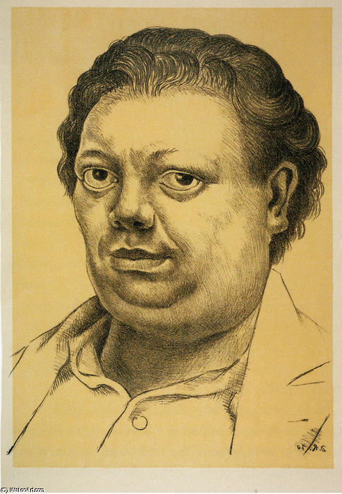 Self-Portrait 3, масло по Diego Rivera (1886-1957, Mexico)