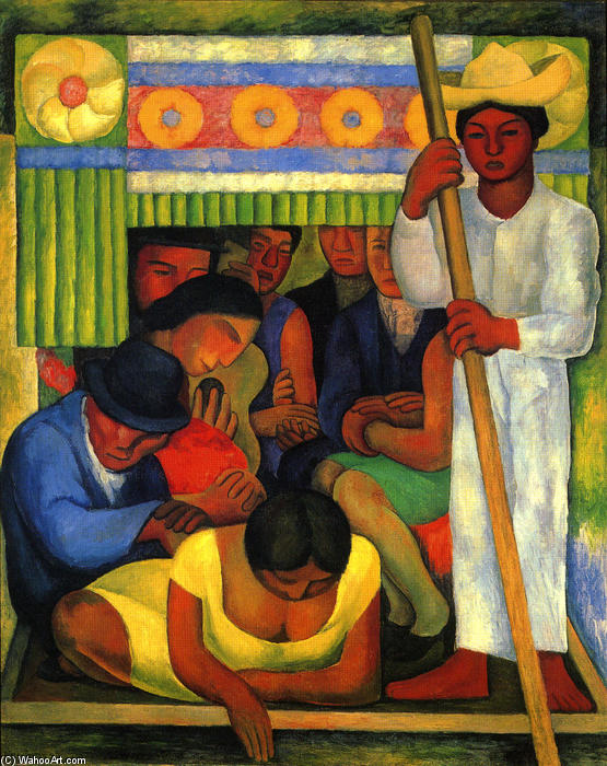 Flowered каноэ по Diego Rivera (1886-1957, Mexico)