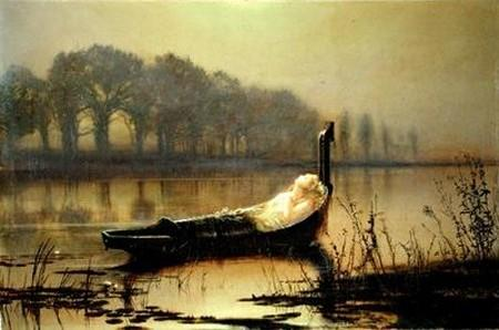 Леди Shalott 1  , масло по John Atkinson Grimshaw (1836-1893, United Kingdom)