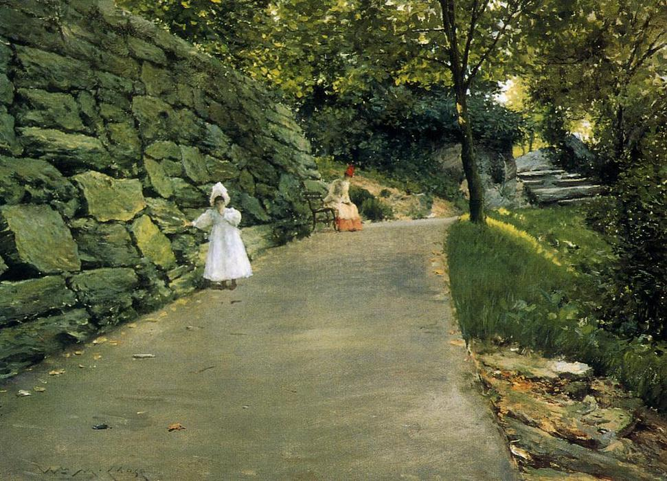 в парке - By-Path, холст, масло по William Merritt Chase (1849-1916, United States)