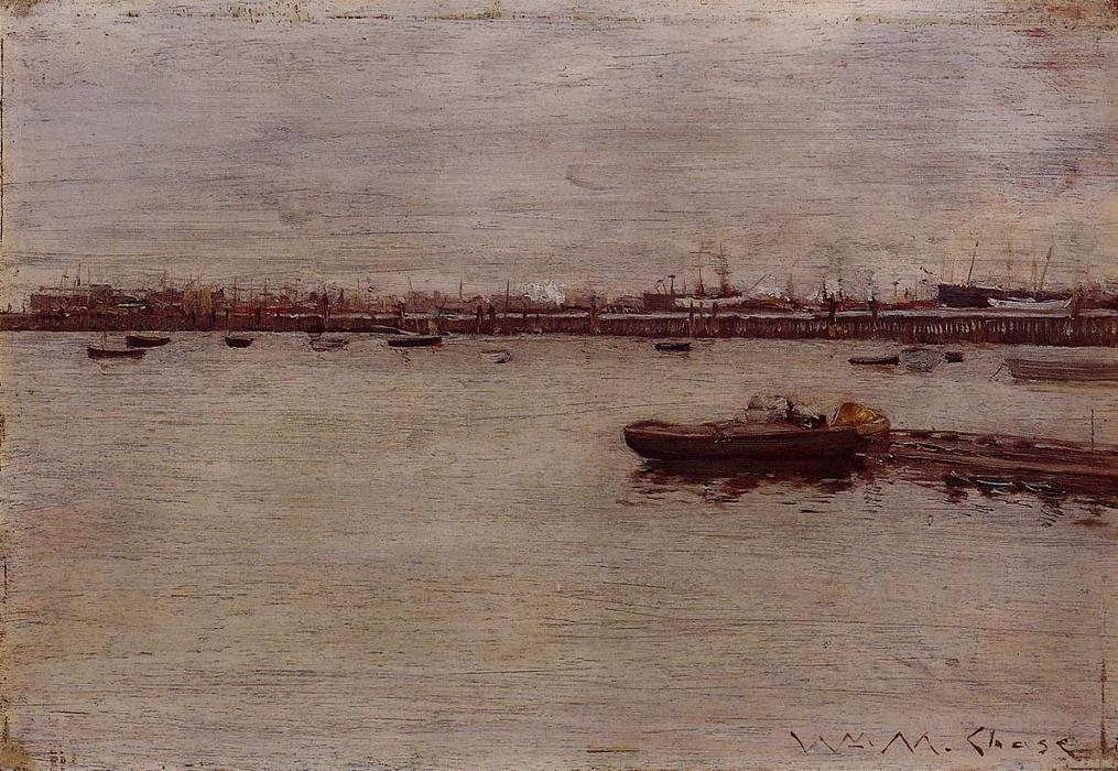 Ремонт доки Пирс Gowanus , холст, масло по William Merritt Chase (1849-1916, United States)