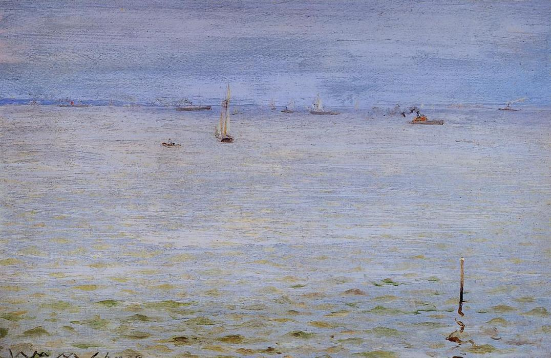 Морской, Масло на панели по William Merritt Chase (1849-1916, United States)