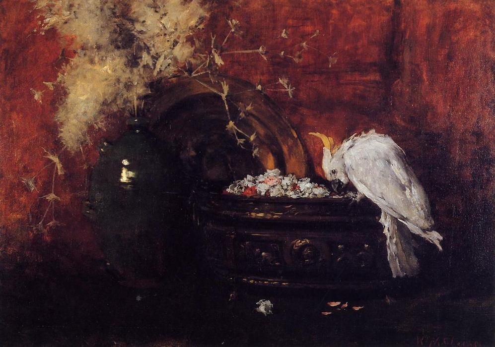 Натюрморт с какаду, холст, масло по William Merritt Chase (1849-1916, United States)