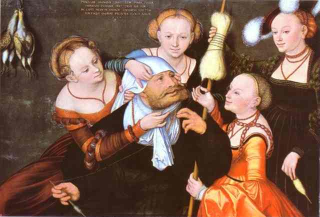 Геркулес и Омфала, масло по Lucas Cranach The Elder (1472-1553, Germany)