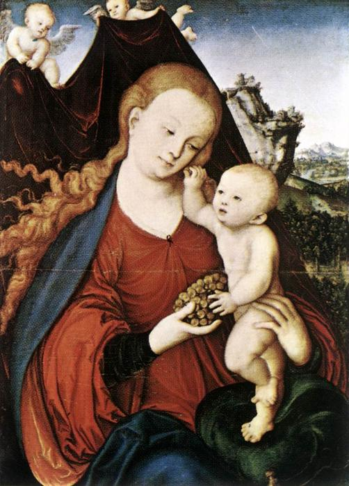 Мадонна с младенцем, Масло на панели по Lucas Cranach The Elder (1472-1553, Germany)