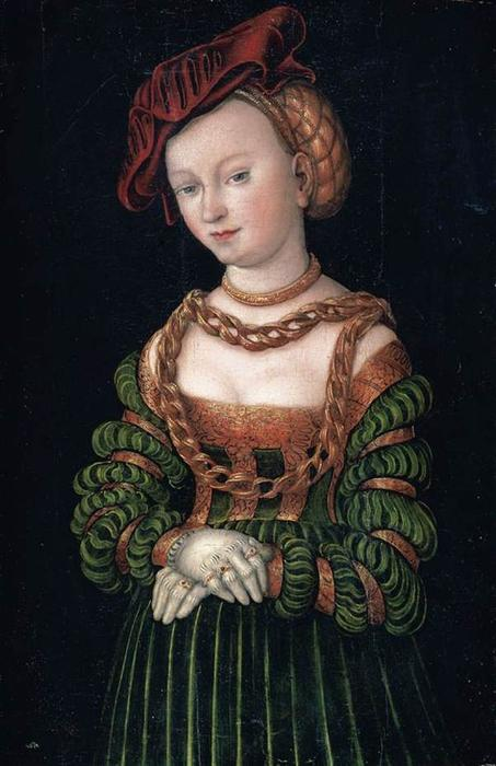 Портрет молодой женщины 1  , масло по Lucas Cranach The Elder (1472-1553, Germany)