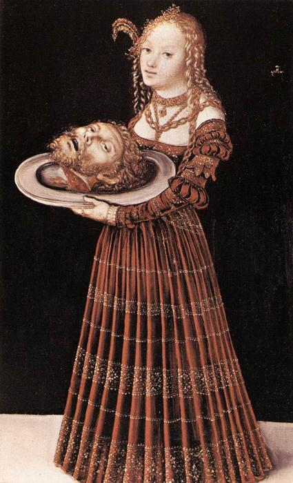 Саломея с голова св . иоанна крестителя, Масло на панели по Lucas Cranach The Elder (1472-1553, Germany)