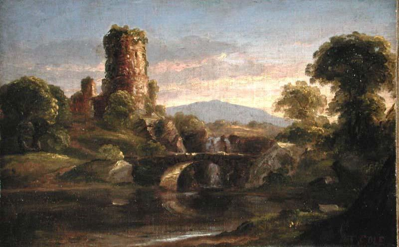Замок и Река , масло по Thomas Cole (1801-1848, United Kingdom)