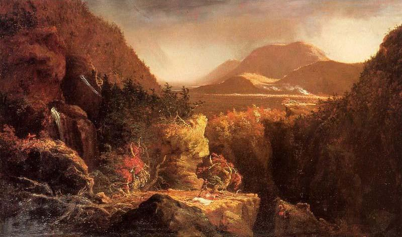 пейзаж с фигурами , сцена из 'The Последний из тем Mohicans', масло по Thomas Cole (1801-1848, England)