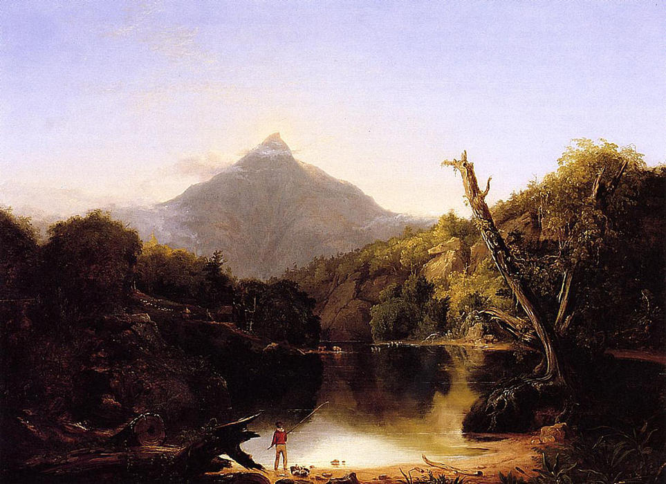 горы Chocorua новый  Хэмпшир , Масло на панели по Thomas Cole (1801-1848, United Kingdom)