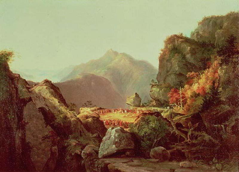 Кадр из фильма Последний из Могикан, масло по Thomas Cole (1801-1848, United Kingdom)