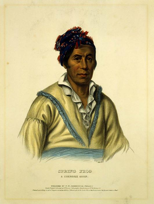 ВЕСНА ЛЯГУШКИ . CHEROKEE КАПИТАН, масло по Charles Bird King (1785-1862, United States)