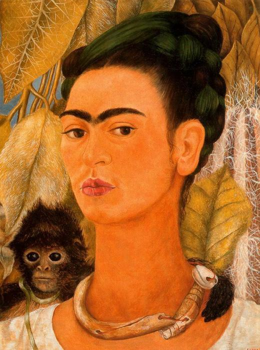 Autorretrato кон моно по Frida Kahlo (1907-1954, Mexico)