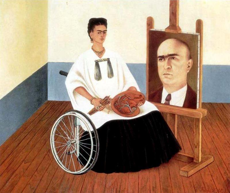 Сеф-портрет с доктором Хуан Farill, масло по Frida Kahlo (1907-1954, Mexico)