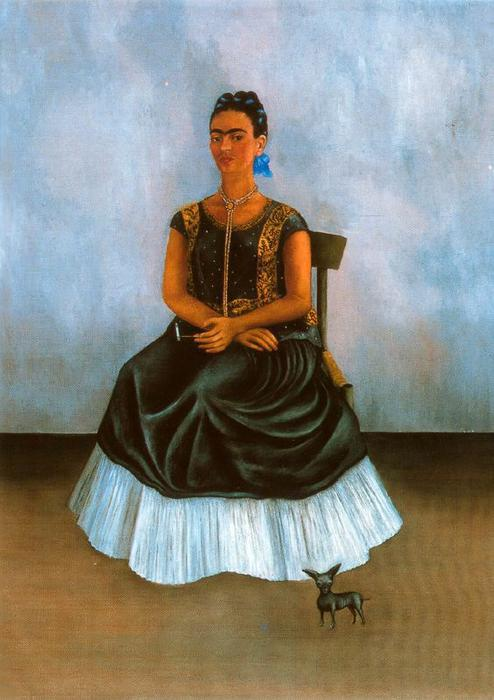Автопортрет с Itzcuintli, масло по Frida Kahlo (1907-1954, Mexico)