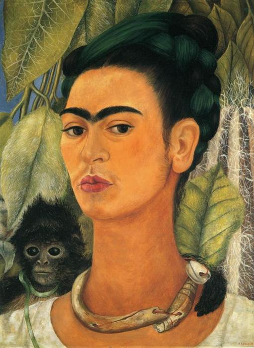 Автопортрет с обезьяной по Frida Kahlo (1907-1954, Mexico)