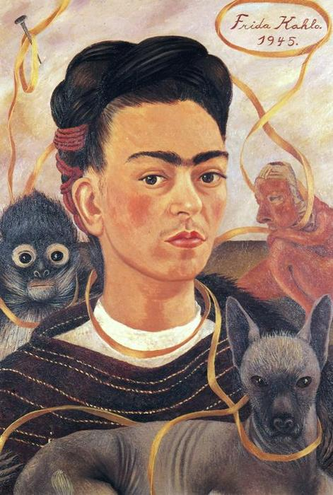 Self-Portrait с небольшим Обезьяна, масло по Frida Kahlo (1907-1954, Mexico)
