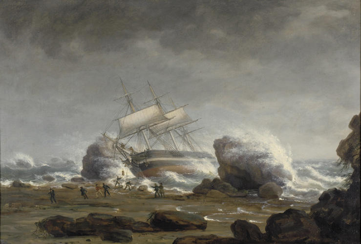 между Скалы , масло по Thomas Birch (1779-1851, United Kingdom)
