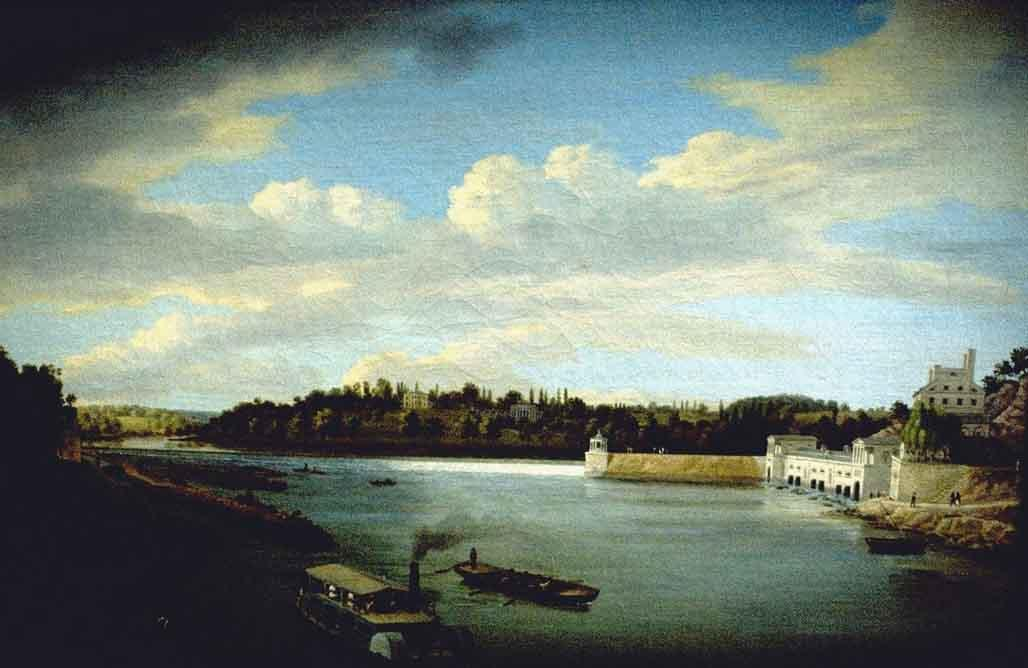 Fairmount водопроводная по Thomas Birch (1779-1851, United Kingdom)